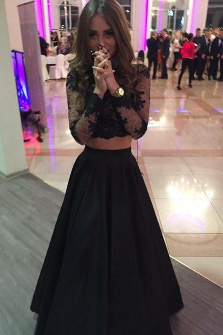 long sleeves prom dresses,black prom dress,black evening gowns,two piece prom dresses,prom gowns 2017