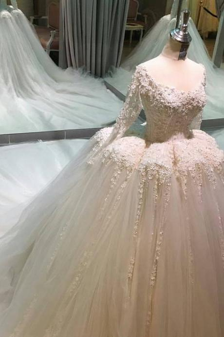 real sample long sleeves v neck organza ball gowns wedding dresses 2017 royal bride dress
