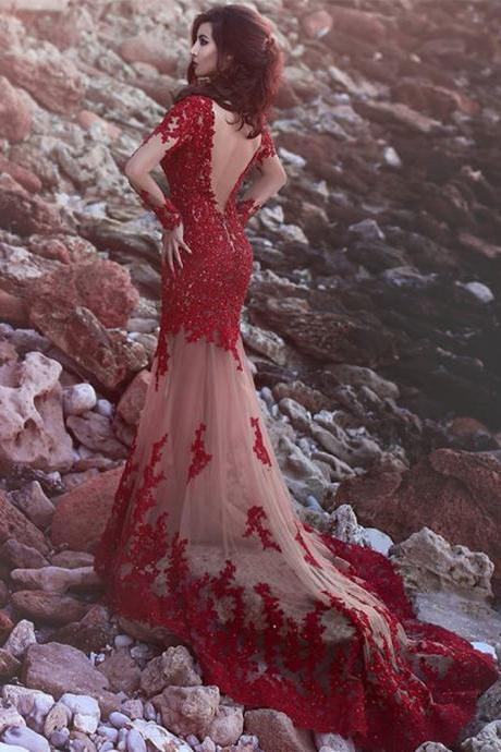 Sexy Low Back Nude Tulle Red Lace Long Sleeves Mermaid Evening Gowns Elegant Prom Dress 2017