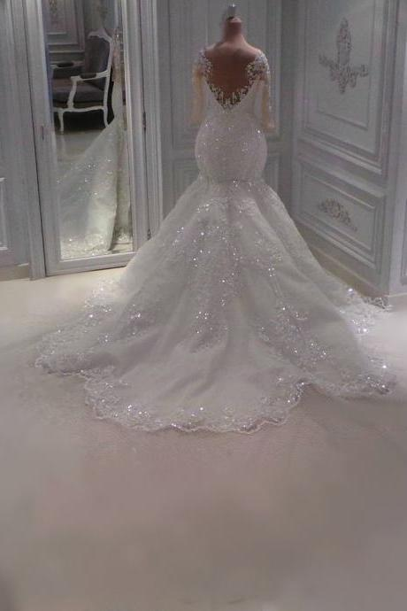 see through back long sleeves lace mermaid wedding dresses with crystal beaded 2017 vintage