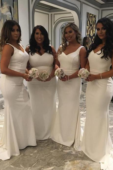 sexy v neck white jersey mermaid dress long bridesmaid dresses 2017