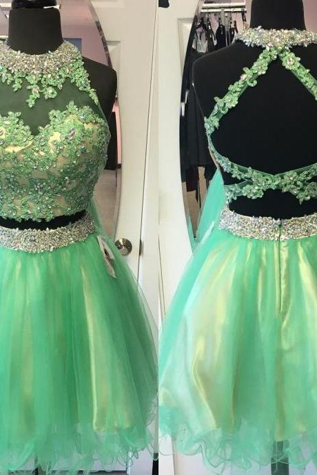 gorgeous lace appliques and beaded two piece homecoming dresses,short prom dresses,semi formal dress,green cocktail dress