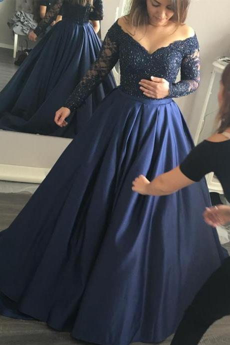 Illusion Neckline Long Sleeves Navy Blue Ball Gowns Prom Dresses Lace Appliques Evening Gowns 2017