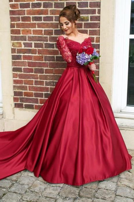 Illusion Neckline Long Sleeves Red Satin Ball Gowns Prom Dresses 2017 Wedding Photography Dress