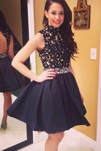 black homecoming dress,high neck homecoming dress,short prom gowns,backless homecoming dress,lace prom dress 2017,