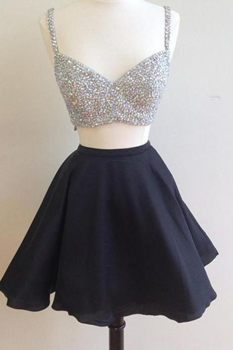 beaded top black satin two piece homecoming dresses 2017 semi formal dress