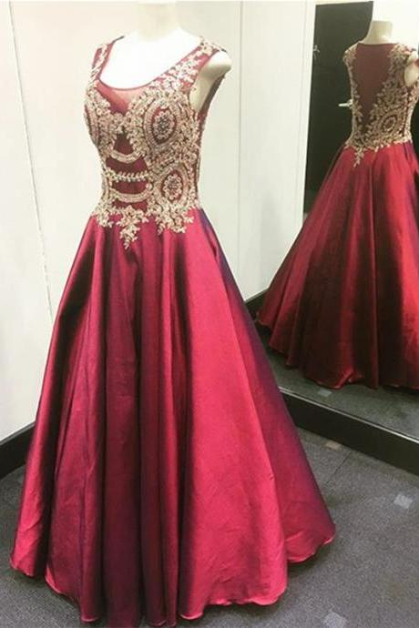 Gold Lace Appliques Long Satin Burgundy Prom Dresses Ball Gowns 2017