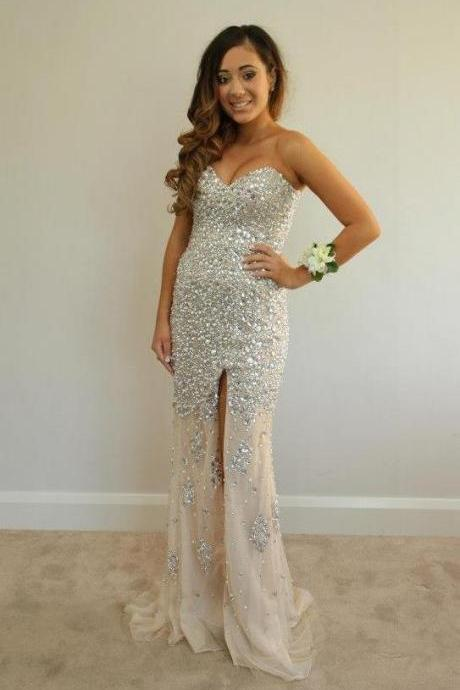 crystal prom dresses,champagne prom dresses,mermaid evening gowns,prom dress 2017 long