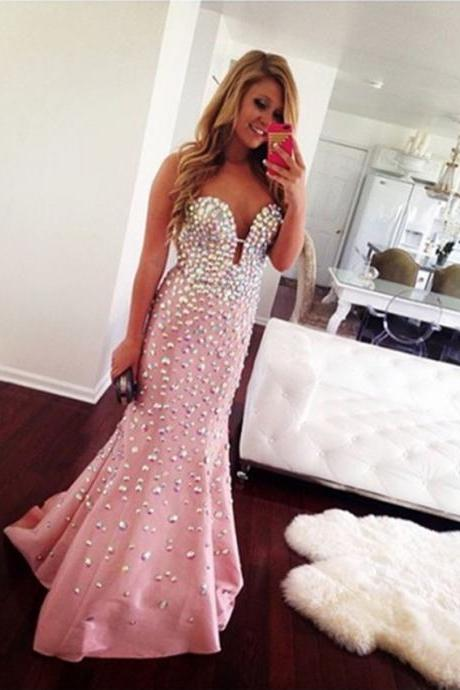 pink prom dress,mermaid prom dresses,crystal evening dresses,prom dress 2017,sweetheart dress,pageant dress