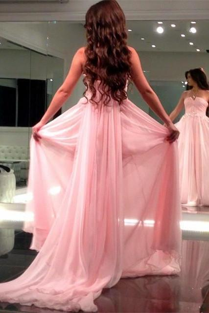 long chiffon strapless prom dresses 2017 formal evening gowns with removable train