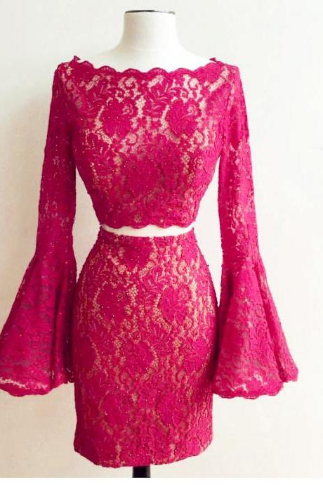 Elegant Lace Long Sleeves Homecoming Dresses 2017 Short Prom Gowns