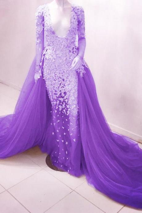 sexy deep v neck long sleeves see through mermaid prom dresses whit lace appliques 2017 new arrival