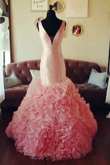 blush pink v neck organza ruffles mermaid prom dresses 2017 pageant evening gowns