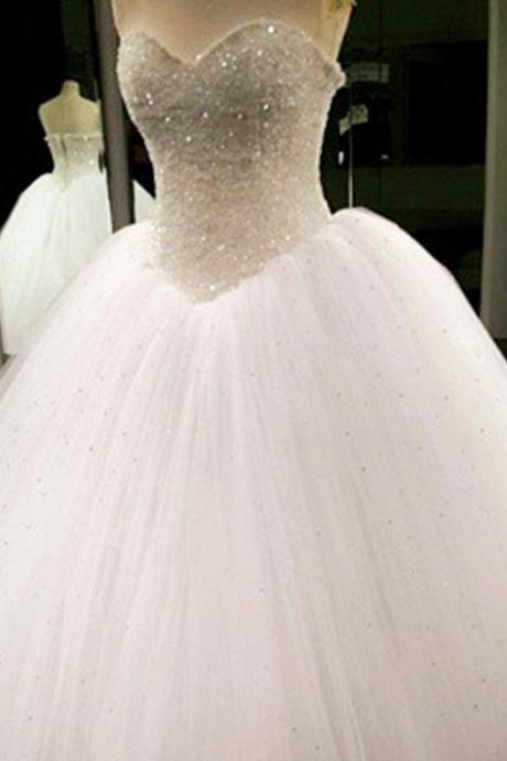 Bling Bling Beading Sequin Sweetheart A Line Princess Wedding Dresses Lace Appliques 2017 Sexy