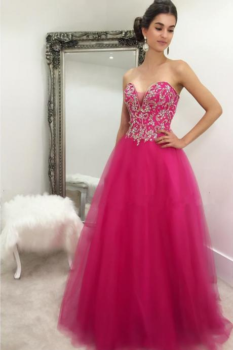 crystal beaded sweetheart long fuchsia ball gowns prom dresses 2017 quinceanera gowns