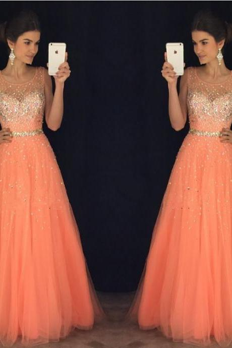 coral prom dresses,cap sleeves prom gowns,long evening dress,beaded prom dresses 2017