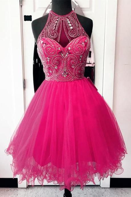 crystal beaded prom dresses short,high neck homecoming dresses,hot pink prom dresses,chic party dress,women's cocktail dress