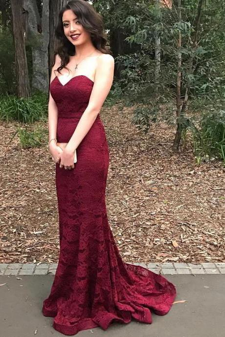burgundy evening gowns,wine red prom dresses,lace prom dresses,sexy mermaid dress,lace mermaid evening dress