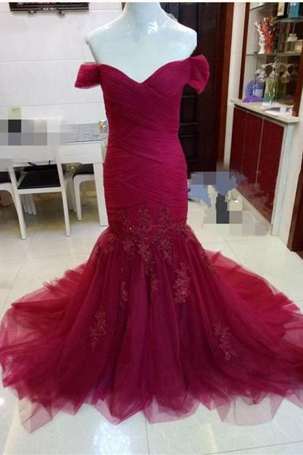 real sample off the shoulder sweetheart long burgundy mermaid wedding dresses lace appliques 2017 sexy