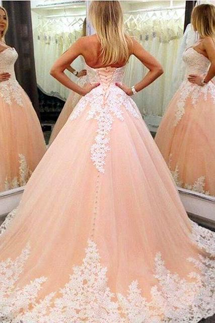 white lace appliques sweetheart tulle ball gowns quinceanera dresses 2017 elegant coral prom dress