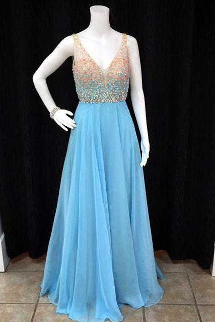 long chiffon v neck crystal beaded prom dresses floor length 2017