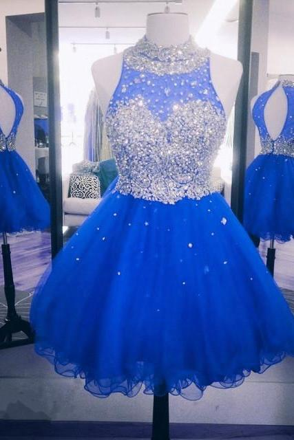 crystal beaded high neck open back short ruffles homecoming dresses 2017 mini ball gowns prom dress