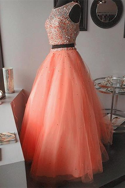 Coral Beaded Embellished Two-Piece Formal Dress Featuring Sleeveless Crop Top and Tulle Floor Length Skirt, Prom Dress