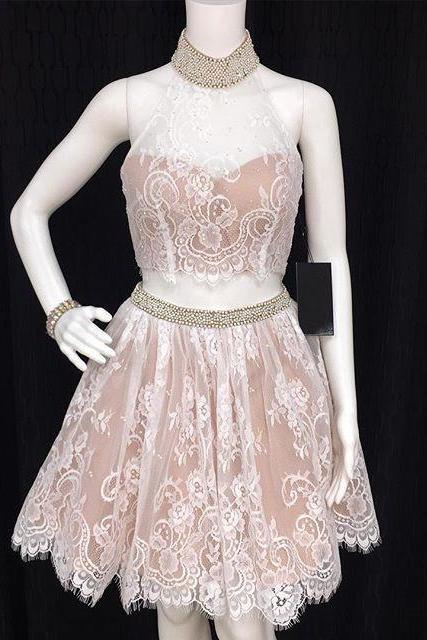 white lace two piece homecoming dresses with beaded neckline