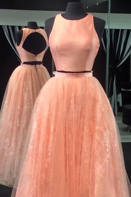 Open Back Dress,Ball Gowns Dress,Two Piece Prom Dresses,Elegant Lace Prom Dress 2017