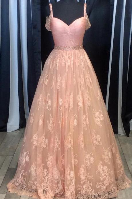 blush pink lace ball gowns prom dress 2017 women's sweetheart formal dress with beaded straps