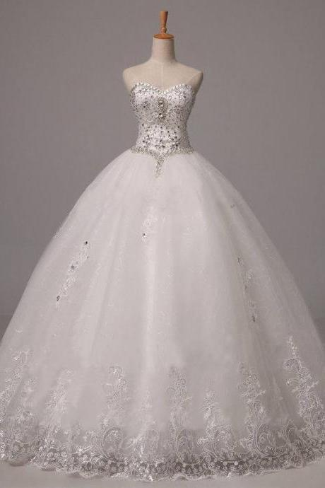 White Lace and Crystal Embellishments Wedding Gown Featuring Sweetheart Neckline and Lace-Up Back