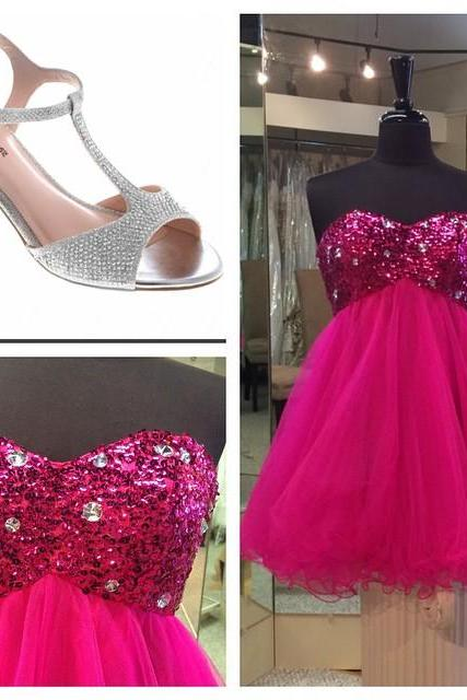 hot pink sequins beaded sweetheart prom dresses short homecoming dress 2017