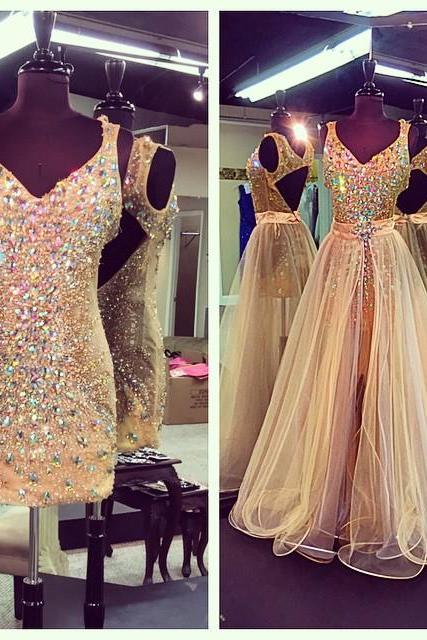 Crystal Beaded V Neck Champagne Prom Dresses With Detachable Skirts