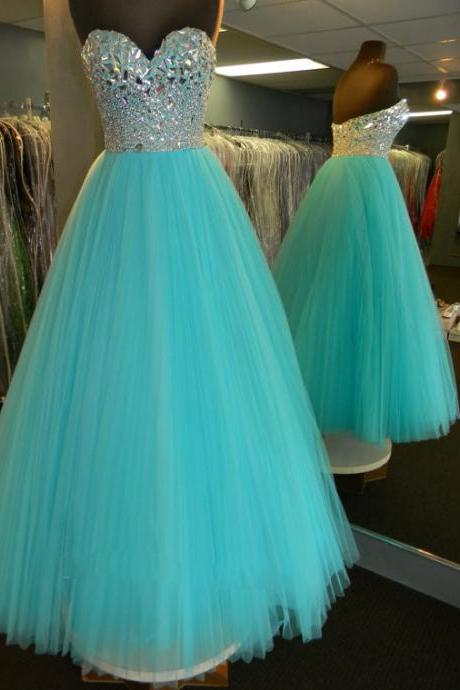 Sparkly Rhinestone Beaded Sweetheart Pleated Tulle Prom Dresses 2017 Sexy
