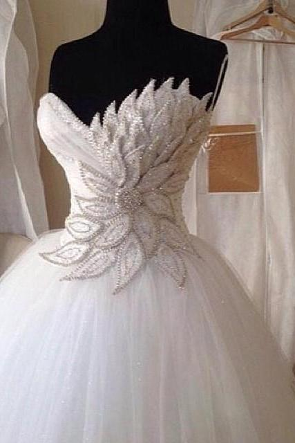 Elegant Pearl Beaded Sweetheart Peacock Wedding Dresses Ball Gowns 2017