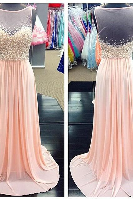 A Line Pearl Beaded Sheer Scoop Neckline Long Pink Chiffon Prom Dresses 2017 Women's Formal Dress