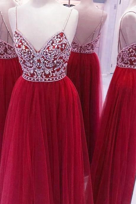Fully Crystal Beaded Top V Neck Long Prom Dresses 2017 Tulle Evening Gowns