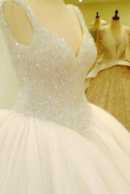 bling bling v neck crystal beaded ball gowns wedding dress 2017