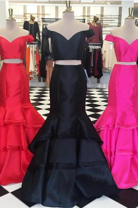 two piece mermaid prom dresses,satin evening gowns,prom dress 2017 sexy,long formal dress,2 piece evening dress