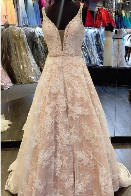 Elegant v neck champagne lace prom dresses ball gowns 2017 formal evening gowns