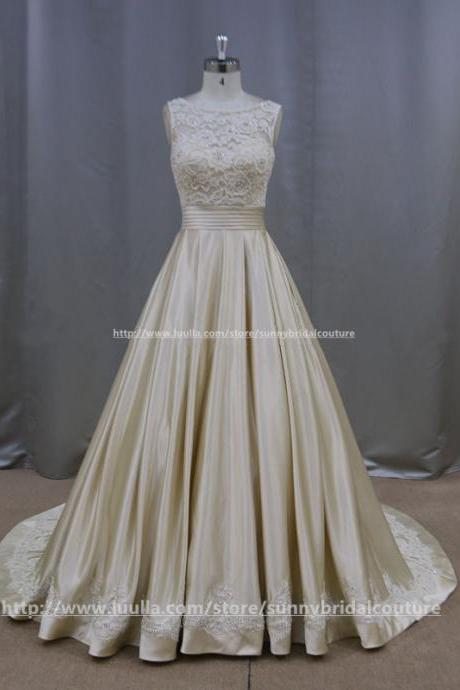champagne taffeta ball gowns wedding dresses lace cap sleeves 2017 vintage bridal gowns