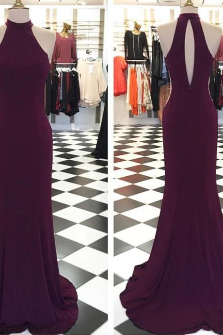 halter long jersey burgundy mermaid prom dresses 2017 women's formal gowns