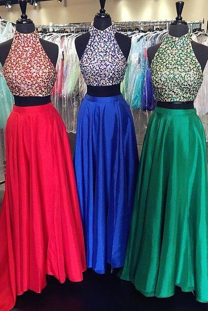 red royal blue green satin two piece prom dresses with sequins beaded halter top 2017 new design