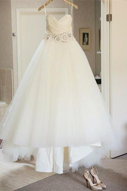 elegant ruched sweetheart princess wedding dresses with flower 2017
