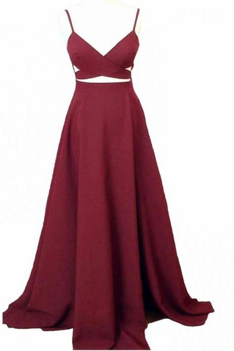 Women's Long Burgundy V Neck Party Dress,Sexy Prom Dress 2017,Simple Evening Gowns