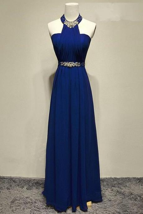 halter prom dress,long prom dress 2017,chiffon evening gowns,backless prom dress,navy blue bridesmaid dresses