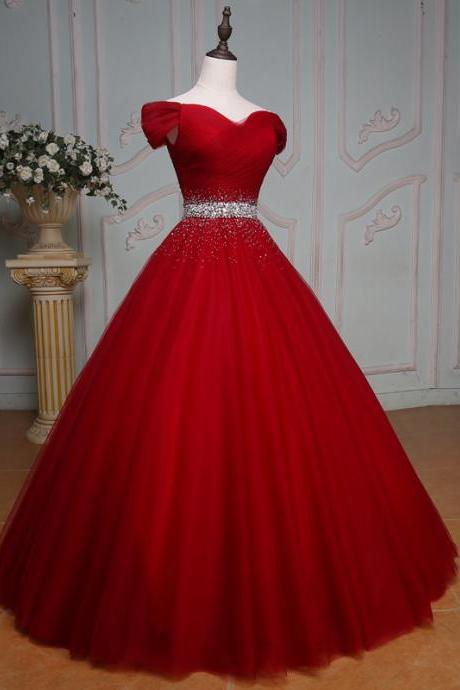 off the shoulder crystal beaded sashes red tulle ball gowns prom dress,red wedding dress,elegant evening gowns