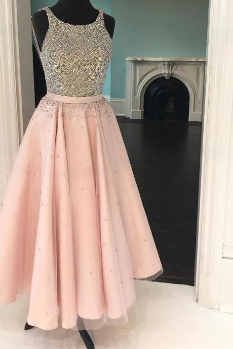 elegant beaded halter tea length prom dresses,short prom gowns ,sparkly dress