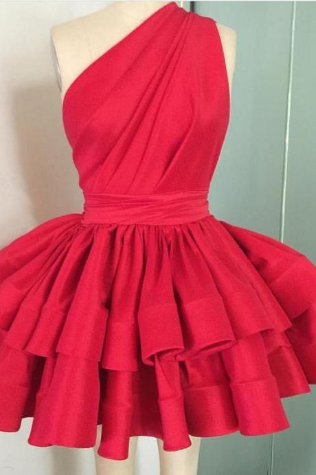 one shoulder ruffles skirt red party dress 2017 girl's homecoming dresses