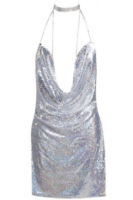 Plunging Halter Sequin Short Party Dress Featuring Open Back